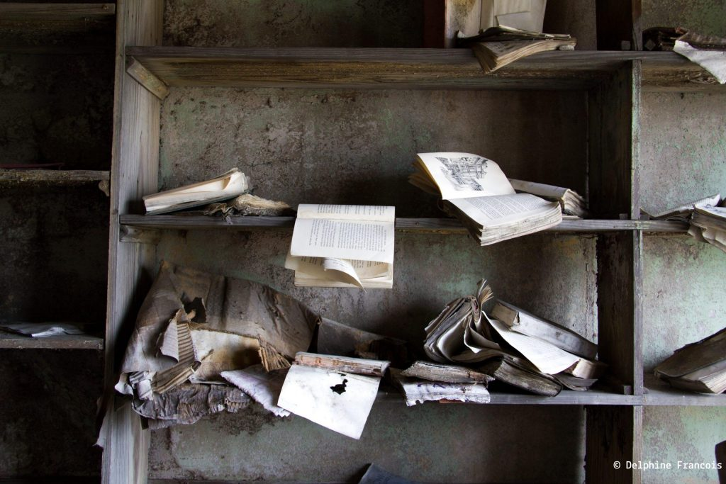 livres abandonnés sur étagère délabrée