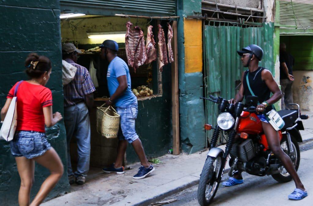 homme en moto regardant à l'intérieur d'un étal de boucher
