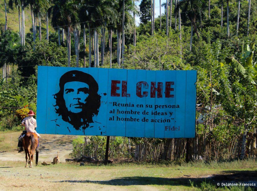 figure du Ché sur panneau bleu devant la jungle